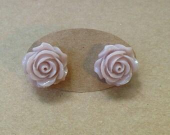 Dusty beige rose studs