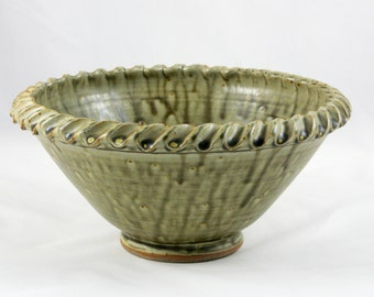 Rope Edge Bowl, Wheel Thrown Serving Bowl, Grey-Green