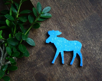 "Wood brooch ""Blue cosmic elk"" / Wooden brooch / Wood pin / Elk brooch / Hand painted pin / Wood accessories / Moose pin / Cosmic pin"