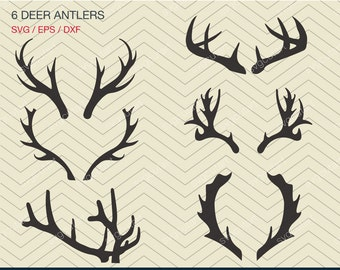 6 Deer Antlers DXF SVG EPS for Cricut Design, Silhouette studio, Sure Cuts A Lot, Makes the Cut,  Monogram Frame instant Download