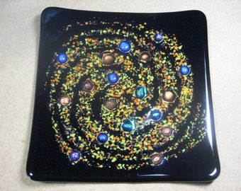 Fused glass Solar system plate/dish/decorative. Hand made