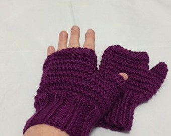Cranberry Fingerless Gloves #1044