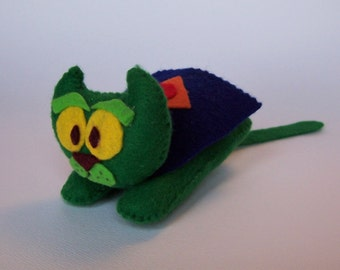 Captain Cat Super Hero Cat Felt Animal