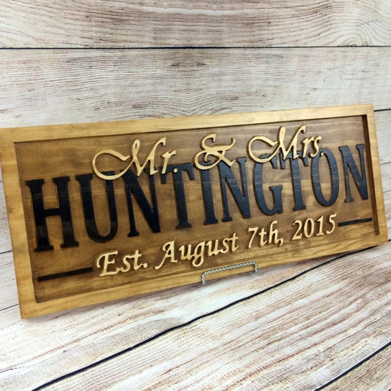 Wedding Gift Name Sign : Wedding Name Sign Bridal Shower Gift Save the Date Prop Wedding Photo ...