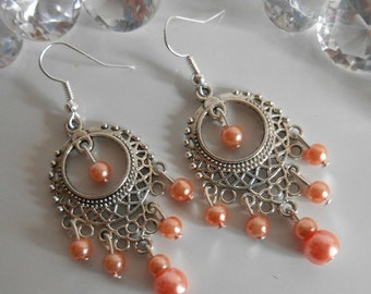 Gipsy dangling earrings coral pearls
