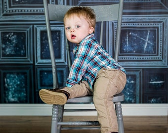 Small Photography Backdrop - Grunge Frames Blue - 2'x2', 2'x3', 3'x3', 3'x4'