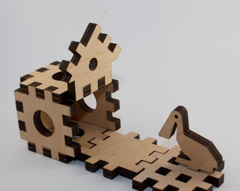 Zoo puzzle. Puzzle plywood. Plywood puzzle furniture. Puzzle figures. 3D wood
