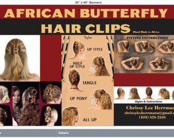 African Butterfly Hair Clips