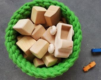 KOPPA Schurwollkorb/wool basket – L – birch green/Grün – Spielzeugkorb – Katzenkorb (Eco/Öko) – schadstofffrei – alpine Schurwolle