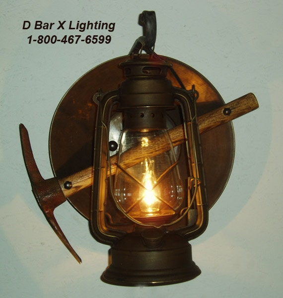 Rustic Electric Wall Sconces : DX804-15 Rustic Lantern Miner s Wall Sconce
