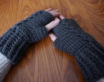 Crochet Handwarmers (Fingerless Mitts) - Charcoal Heather
