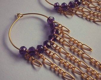 Gold Dangle Hoop Earrings With Amethyst-Coloured Glass Crystal Beads