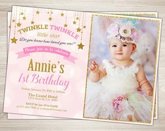 Twinkle Twinkle Little Star Invitation Girl First Birthday - First birthday invitations girl pink and gold
