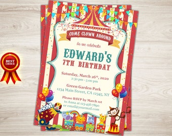 Vintage Circus Birthday Invitation. Circus 7th Birthday Invitation. Circus Invitation. Printable Circus Themed Birthday Party Invitation