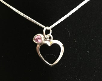 Sterling Silver Heart With Light Pink Heart Pendant Necklace