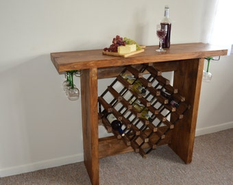 Wonderful Reclaimed Rustic Wine Rack Table/ Buffet/ Sideboard Console Table