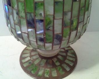 Mosaic vase, greens