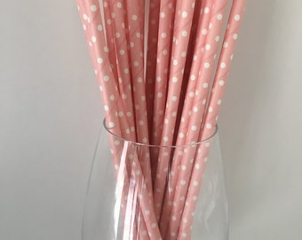 Pink Polka Dot Straws Pink Paper Straws Pink Straws Drinking Straws Wedding Straws Party Straws Birthday Party Straws, Baby Shower