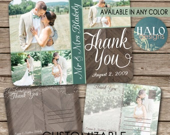 Rustic Wedding Thank You Postcard, printable, chevron