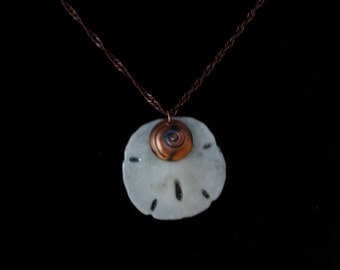 Real Sand Dollar and Handmade Copper Wave Bead Necklace ~ Seaside, Ocean, Wave Inspired