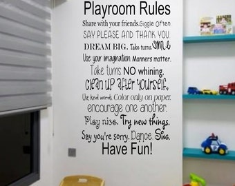 Playroom Rules, Wall Decal Quotes, Daycare Decor, Wall Vinyl Decals, Wall Decal, Wall Decor, Removable Wall Decor, Wall Stickers, wall art
