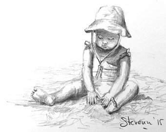 Little girl on the beach 4X6