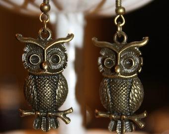 Bronze Owl Dangle Earrings