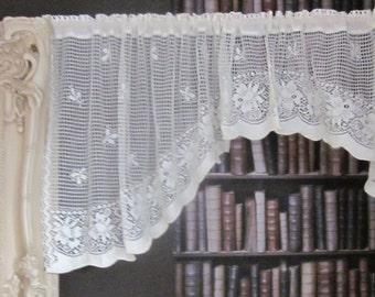 Gustavian Design Cotton Lace curtain Valance Vintage design cotton lace