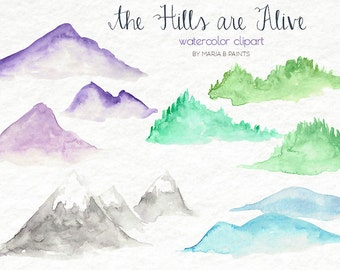 Watercolor Clip Art - Hills, Mountains, Nature, Simple, Personal Use, Instant Download, Rolling Hills, Mountain top, Nature, Horizon