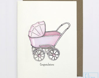 Pink Pram - Congratulations // Illustrated Greeting Card