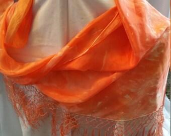 100% Silk Hand dyed Triangle Shawl