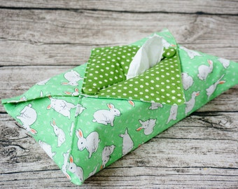 Tissue Box Cover - Rabbit & Green Dotty Print