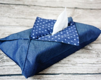 Tissue Box Cover - Denim & Blue Dotty Print