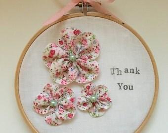 Embroidery hoop flowers