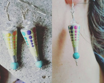 Beautiful hanging earrings hand-painted