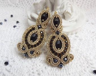 Soutache earrings Soutache jewelry Stud soutache earrings long Earrings studs Chandelier earrings Black gold soutache earrings Long earrings