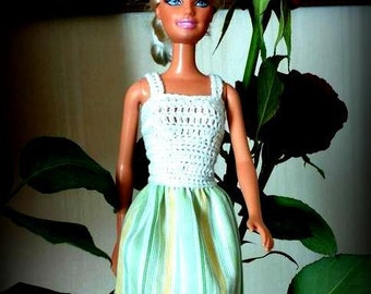 Casual summer top White crochet Barbie dress and striped skirt, crochet cotton green and yellow tones and hand-stitched