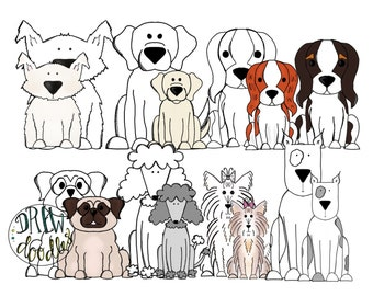 Dog Digital Clip Art- Color and Black Line COMBO- Instant Download