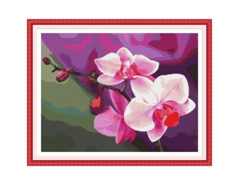 Counted cross stitch pattern Orchids,Instant download PDF