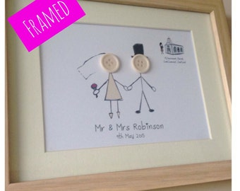 Wedding Button People Frame - Button Picture