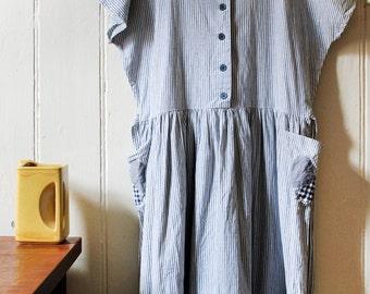 Vintage 1980's cute light blue and white striped dress - Medium