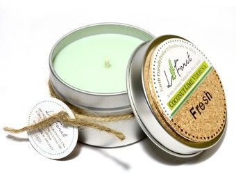 Free Shipping->Aroma Scented Tin Handmade Soy Candle: Coconut Lime Verbena ( Fresh )