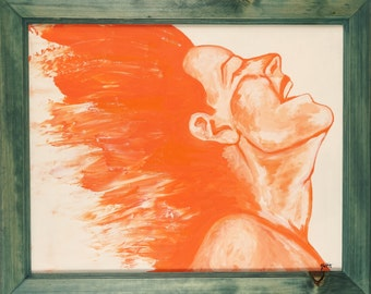 """Colorful Painting of a Woman, Abstract Art, Wall art, 20x16- Laughing Woman """"Release in Orange"""""""