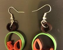 Quilling loop earrings , handmade paper hoop ear rings , dangle jewellery ,green loop earrings , paper quilled jewellery
