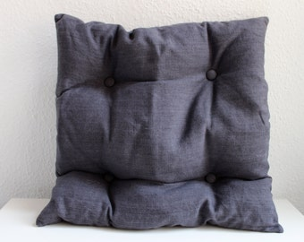 Grey-storm linen, four button cushion