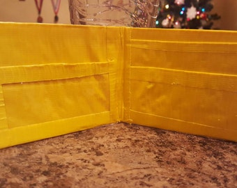 Yellow duct tape wallet with ID  slot
