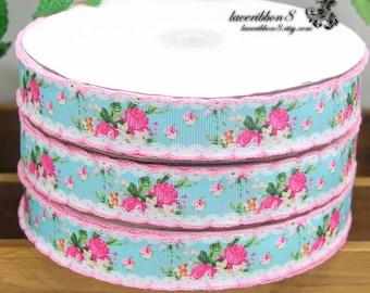 "10 Yards- 7/8""/22mm Flower Grosgrain Ribbon Trim, Crochet Edges Pink Rose Flower on Aqua Blue for Gift Wrapping, Hair Bows"