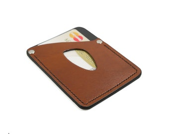 Deluxe Leather Card Sleeve • 2-colour • EDC front pocket wallet, minimalist wallet, leather wallet, ultralight front pocket wallet • EDC-201