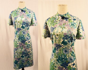 1960's Floral Shift Dress/XL Vintage Dress/Fun Shift Dress