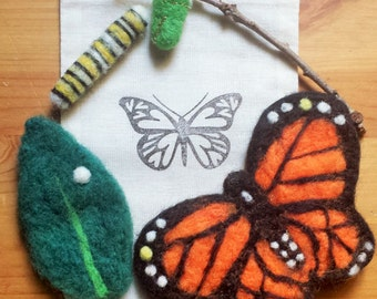 Wool felt Monarch Butterfly Life Cycle
